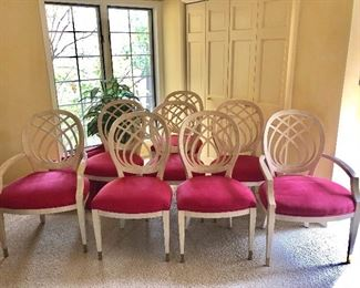 """BUY IT NOW! $1000 or best offer Henredon whitewashed oak dining chairs, tapered legs with brass feet, excellent condition - 2 arm chairs w/ 24""""w seats +6 side chairs. (Orig price $5000+)"""