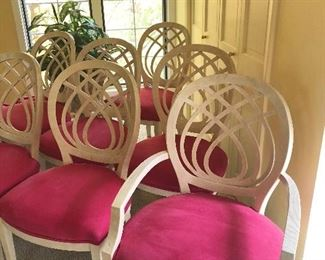 Henredon dining chairs, fuchsia ultra suede seats, set of 8 including 2 arm & 6 side BUY IT NOW $1000 or best offer