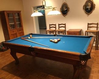 """BUY IT NOW! $595 (or best offer) Brunswick 8 ft Pool table """"Chateau"""" in good condition with blue felt & leather pockets, includes 7 pool sticks, 1 bridge, 1 felt brush, pool balls 97""""L x 53.5""""W"""