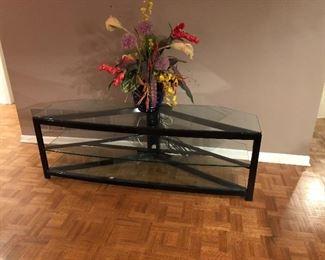 "BUY IT NOW! $225 Black metal media stand w/ 3 glass shelves 60""W x 20""H x 19""D"