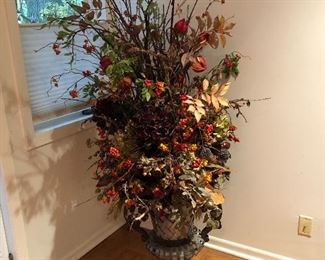 """BUY IT NOW! $135 faux autumn floral in 24""""H metal urn - overall size is 68""""H x 34""""W"""