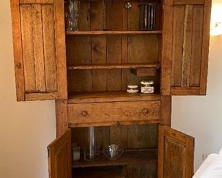 """BUY IT NOW! $850 gorgeous antique walnut cupboard with full center drawer, a small interior drawer and shelves - stunning farmhouse modern piece or retail display - 81""""H x 42""""W x 15""""D (small items not for sale)"""