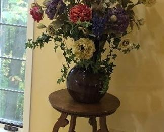 """BUY IT NOW! $110 Antique oak plant stand with carved legs -  size is 30""""H x 18""""W                                                         $65 Faux summer floral in vase 50""""H"""
