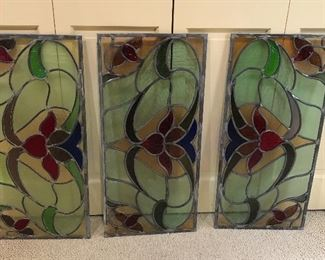 BUY IT NOW! $150 leaded stained glass 3 panels, beautiful! as is with a few cracks