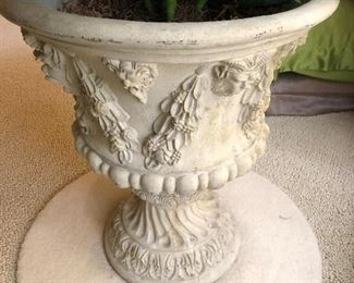"""BUY IT NOW! $110 heavily detailed cement urn with faux plant - urn is 24""""H x 21""""W"""