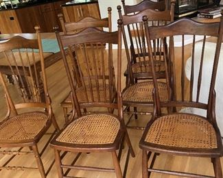 BUY IT NOW! $195 set of 6 coordinating (3 of each style) antique cane seat chairs