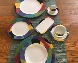 """BUY IT NOW! $295 Mikasa """"Currents"""" M5101 porcelain dish set - full service for 10 - includes 11 dinner plates, 10 salad plates, 13 bowls, 12 cups & saucers, 6 espresso cups & saucers, creamer, sugar, 12"""" platter - 74 pcs total"""