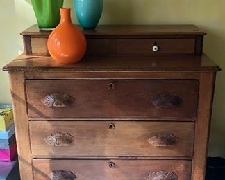 """BUY IT NOW! $295 Antique Walnut dresser 3 drawer with step back glove drawers, milk glass knobs. On casters, excellent condition and beautiful patina - size is 39""""W x 39""""H x 19.5""""D"""