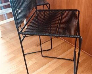 pair Black metal & corded vinyl counter stools