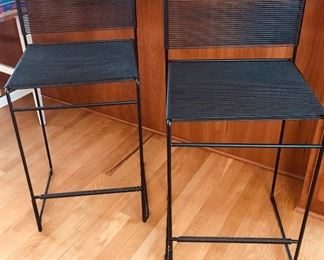 """BUY IT NOW! $250 pair Modern Black metal & vinyl corded counter stools - seat height 25"""", overall 35""""H x 19""""D x 16.5""""W"""