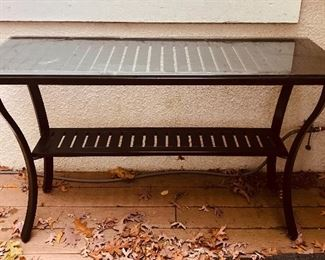 """BUY IT NOW! $85 outdoor aluminum frame console or buffet table with glass top 50""""L x 15""""D"""
