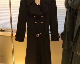 BUY IT NOW! $45 Milly New York sz 8 woman's black wool coat with gold buttons, belted, beautiful!