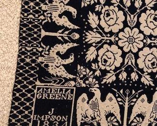 J Impson weaver made for Amelia Greene, dated 1834 Cortland County, NY