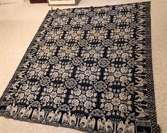 """BUY IT NOW! $475 Antique Americana - fine woven indigo wool and overshot cotton jacquard coverlet, with floral design & an eagle border - signed in two squares for Amelia Greene 1834 by J. Impson, Cortland County, reversible, seamed down middle, some fraying along borders but overall remarkable condition for 186 years old - 90""""L x 77.5""""W"""