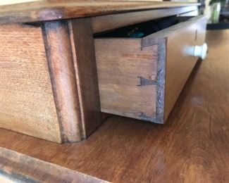 dovetail drawers on antique 3 drawer walnut dresser