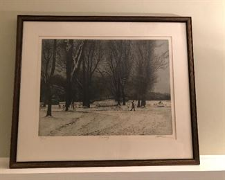 """BUY IT NOW! $245 Harold Altman """"January"""" numbered, signed aquatint with COA 32""""W x 27""""H"""