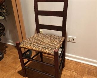 """BUY IT NOW! $45 antique primitive ladder back side chair with rush seat 33.5""""H x 15.5""""W x 13""""D"""