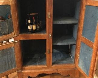 """BUY IT NOW! $485 Antique Ice box repurposed as a bar! (liquor not for sale :) lined in faded denim patches, ready to go in your game room, tv room, bachelor pad  50""""H x 37""""W x 20.5""""D"""