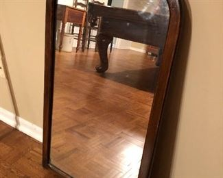 """BUY IT NOW! $50 antique arch top mirror with original wood back and hanger 32""""H x 18""""W"""