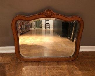 """BUY IT NOW! $35 antique oak framed beveled mirror 24""""W x 19.5""""H"""
