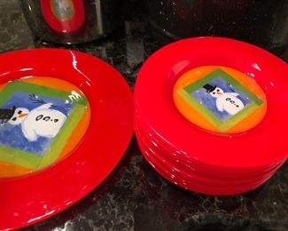 """BUY IT NOW! $55 Dibbern Germany fused art glass red Christmas Snowman plates -  13.25"""" platter & (10) 8.5"""" plates"""