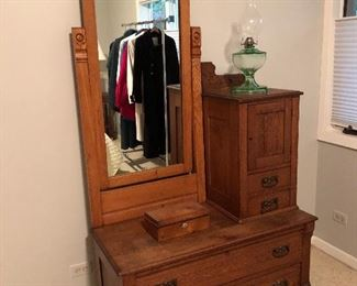 "BUY IT NOW! $225 Antique Eastlake oak dresser mirror vanity combo 3 pc. for easy transport 79""H x 42""W x 19.5""D"