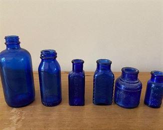 BUY IT NOW! $40 Cobalt vintage glass bottle collection, including Triloids poison
