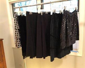women's black skirts in various styles - sz 4-10
