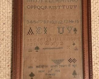 """BUY IT NOW! $150 antique primitive sampler signed and dated 1818 - 13""""W x 18.5""""H"""