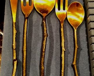 BUY IT NOW! $250 - very hard to find discontinued Pottery Barn Twig Flatware with bronze twig handles and brass finish ends, never used and in excellent condition - total of 42 pcs includes (8) 5 pc. sets + a meat fork and a serving spoon. Set a fabulous autumn table!