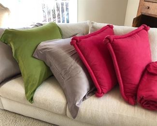 """26"""" down pillows with silk covers & pink ultra suede pillows"""