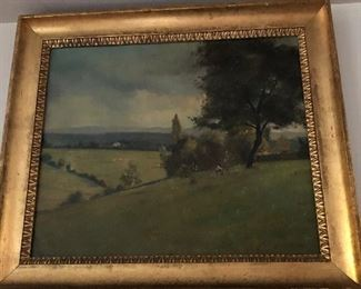 Antique Scenic painting M Balland Ecole Suisse.
