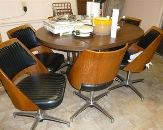 Fantastic mid-century Table w/6 bentwood chairs & leaf by Brody