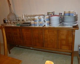 Awesome Mid-Century Buffet by Huntley w/Travertine Top