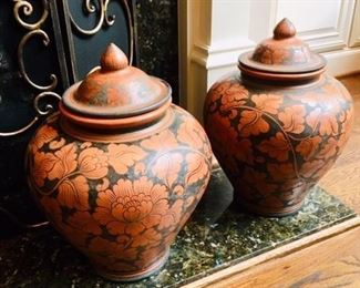 pair of pottery food jars