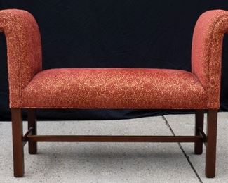 Red and gold upholstered bench chair