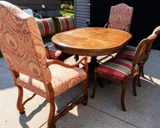 7 piece Upholstered Chestnut Dining room table set