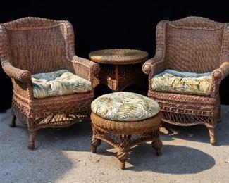 Rattan Chairs, end table & Ottoman