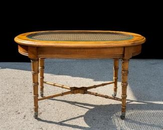 Vintage glass top rolling coffee table