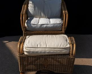 Rattan Chair and Ottoman with white Cushions