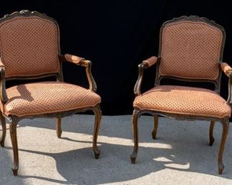 Vintage Arm Chairs red diamond pattern