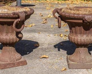 2 Cast Iron Planters