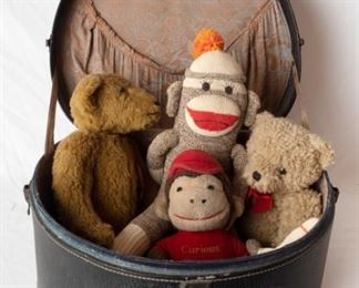 Vintage Leather Hat Box Suit Case & Stuffed Animals including Sock Monkey & vintage curious George Doll