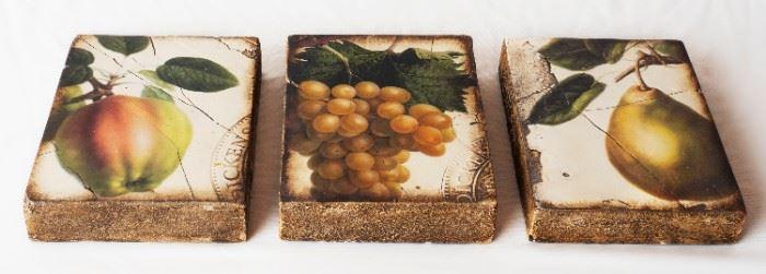3 Retired Sid Dickens Tiles Apple Pair & Grapes