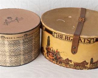 2 Vintage hat Boxes Peck & Peck Bergats