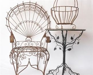 Wrought Iron Chair table and magazine/wood rack
