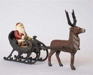Cast Iron Santa and Reigndeer