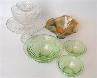 7 Pieces Glassware; crystal, green glass & ripple bowl