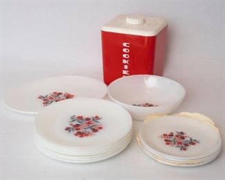 Fire King Floral Pattern Plate and Ovenware