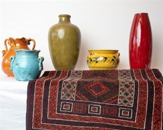 Assorted Pots and Vases and Rug